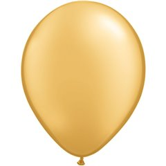 Gold Latex Balloon, 9 inch (23 cm), Qualatex 43686