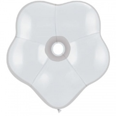 "6"" White GEO Blossom Latex Balloons, Qualatex 43632"