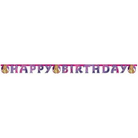 Banner decorativ pentru petrecere - 1.9 m, Happy Birthday cu Hannah Montana, Amscan 551395, 1 buc