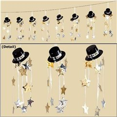 Top Hat Happy New Year Garland - 3 m, Amscan 221004, 1 piece