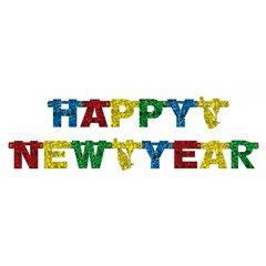 Banner decorativ pentru petrecere - 1.8 m, Happy New Year, Amscan 550176, 1 buc