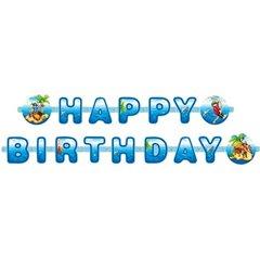 Banner decorativ pentru petrecere - 1.9 m, Happy Birthday cu Pirati, Amscan 550259, 1 buc