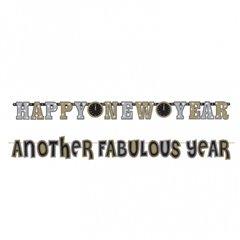 Bannere decorative pentru petrecere 3 m & 1.8 m, New Year's Illustrated, Amscan 120061, Set 2 buc