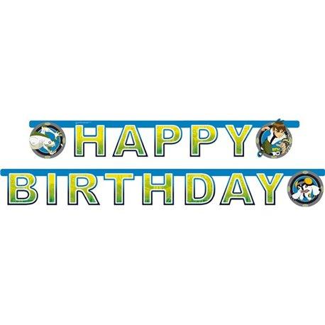 Banner decorativ pentru petrecere - 1.8 m, Happy Birthday cu BEN10, Amscan 551548, 1 buc