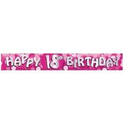Banner decorativ pentru petrecere majorat - 2.7 m, Happy Birthday 18 ani, Amscan 551775, 1 buc