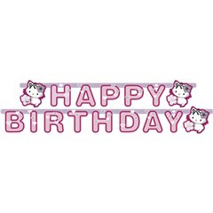 Charmmy Kitty Hearts Happy Birthday Letter Banner - 1.8 m, Amscan RM552190, 1 piece