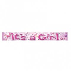 Banner decorativ petrecere 3.63 m, It's a girl, Amscan 992963, 1 buc