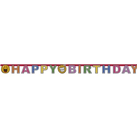 Banner decorativ pentru petrecere - 1.8 m, Happy Birthday Smiley World, Amscan 551963, 1 buc