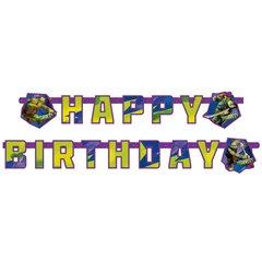 Banner decorativ pentru petrecere - 1.8 m, Happy Birthday cu Testoasele Ninja, Amscan 552471, 1 buc