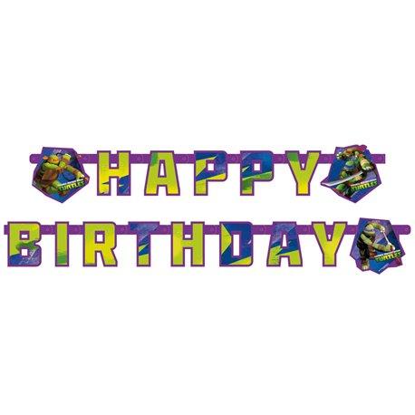 Banner decorativ pentru petrecere - 1.8 m, Happy Birthday cu Testoasele Ninja, Amscan RM552471, 1 buc