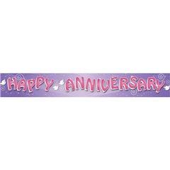 Banner decorativ pentru petrecere - 2.74 m, Happy Anniversary, Amscan 552055, 1 buc