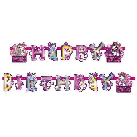 Banner decorativ pentru petrecere - 1.8 m, Happy Birthday cu Filly Fairy, Amscan RM552481, 1 buc