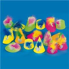 Coifuri de petrecere neon asortate, Amscan RM3535, Set 4 buc