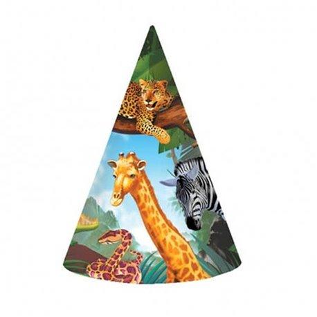 Coif petrecere copii - Safari, Amscan 259765, Set 8 buc
