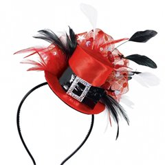 Coronita - Palarie rosie cu pene pentru petrecere, Amscan 391306, 1 buc