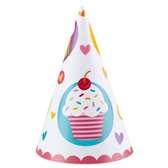 Cupcake Paper Hats 15.8cm, Amscan 997218, Pack of 6 pieces