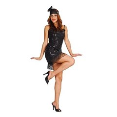 Fashion Flapper Girl Black Adult Costume, Radar GD086888.42, 1 piece