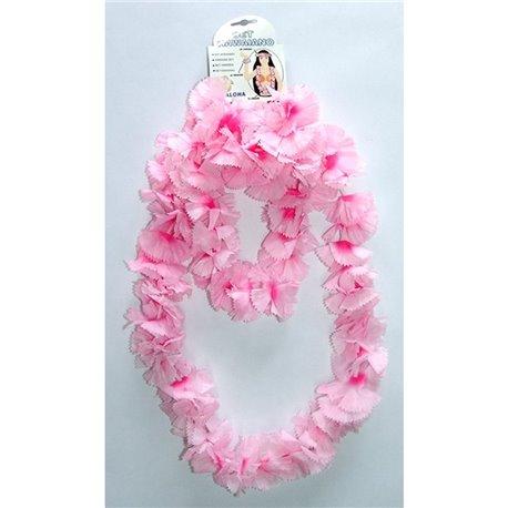 Kit accesorii Hawaii cu floricele roz, Radar 62022, Set 4 piese