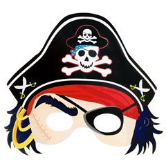 Pirates Treasure Pirate Mask with Hat, Amscan 369884, Pack of 6 Pieces