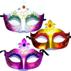 Adult Venetian Style Face Mask Assorted, Radar SMFIT.C36, 1 piece