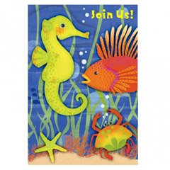 Underwater Life Invitation Cards, Amscan 499764, Pack of 6 Pieces