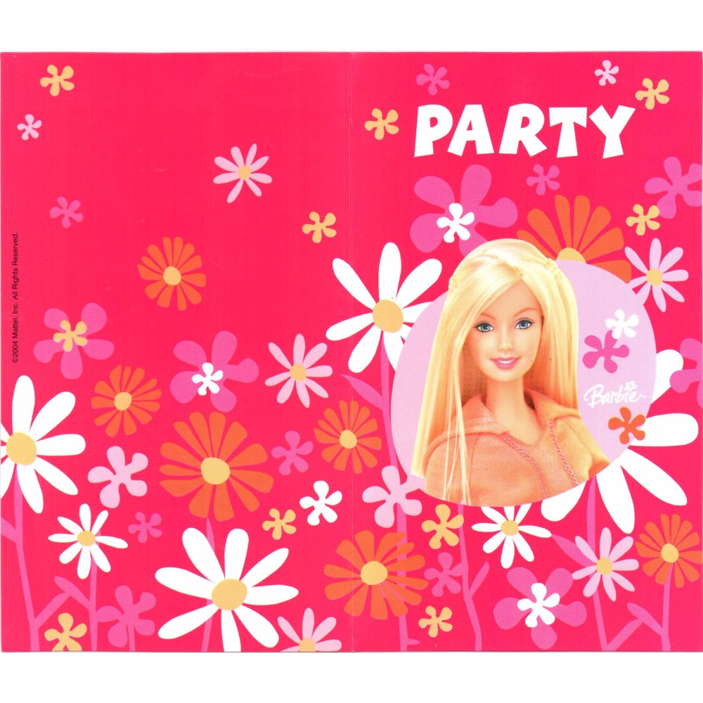 Barbie Invitation Cards Amscan Rm550375 Pack Of 6 Pieces