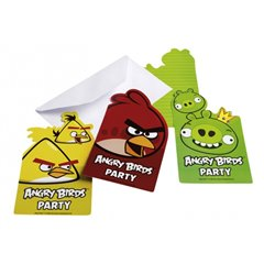Invitatii de petrecere Angry Birds, Amscan 552368, Set 6 buc