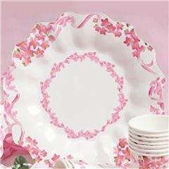 Farfurii albe cu floricele roz 23 cm pentru petreceri, Radar GVI62933, Set 10 buc