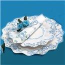 Farfurii albe cu floricele albastre 23 cm pentru petreceri, Radar GVI62939, Set 10 buc