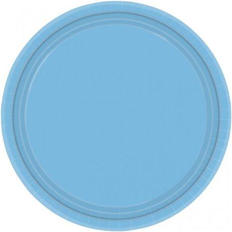 Farfurii uni Powder Blue 23 cm pentru petreceri, Amscan 55015-11, Set 8 buc