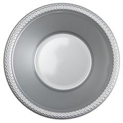 Boluri plastic Silver Sparkle 355ml pentru petreceri, Amscan 552286-17, Set 10 buc
