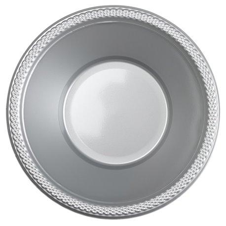 Boluri plastic Silver Sparkle 355ml pentru petreceri, Amscan RM552286-17, Set 10 buc