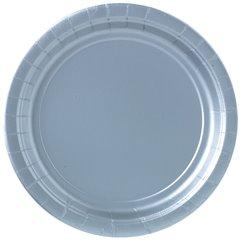Farfurii uni Silver Sparkle 23 cm pentru petreceri, Amscan 55015-18, Set 8 buc