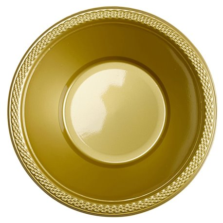Boluri plastic Gold Sparkle 355ml pentru petreceri, Amscan RM552286-19, Set 10 buc