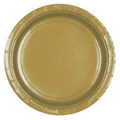 Farfurii Gold 18 cm pentru petreceri, Amscan 54015-19 , Set 8 buc