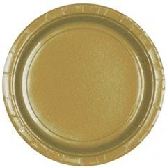 Farfurii uni Gold 23 cm pentru petreceri, Amscan 55015-19, Set 8 buc