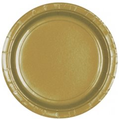 Gold Paper Plate 23 cm, Amscan 55015-19, Pack of 8 pieces