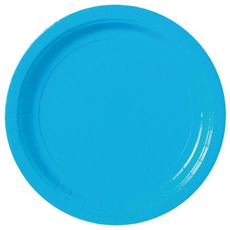 Farfurii uni Caribbean Blue 23 cm pentru petreceri, Amscan 55015-54, Set 8 buc