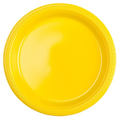 Sunshine Yellow Plastic Plates 18 cm, Amscan RM552284-09, Pack of 10 ...