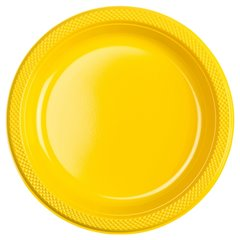 Sunshine Yellow Plastic Plates 23 cm, Amscan RM552285-09, Pack of 10 pieces