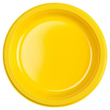 Farfurii plastic Sunshine Yellow 23 cm pentru petreceri, Amscan RM552285-09, Set 10 buc