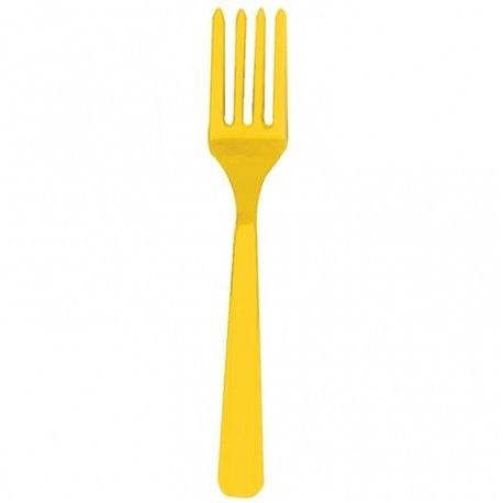 Furculite plastic Sunshine Yellow pentru petreceri, Amscan RM552290-09, Set 10 buc