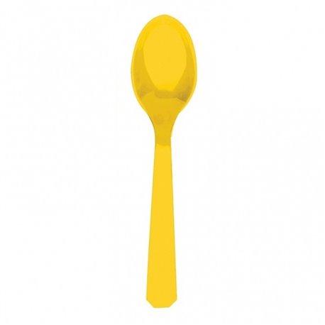 Linguri plastic Sunshine Yellow pentru petreceri, Amscan RM552288-09, Set 10 buc