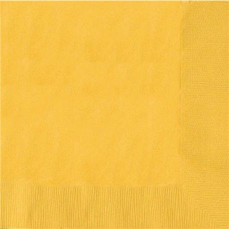 Servetele de masa uni galbene pentru petreceri - 25 cm, Amscan 50015-09, Set 20 buc