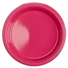 Farfurii plastic magenta 18 cm pentru petreceri, Amscan 552284-61, Set 10 buc