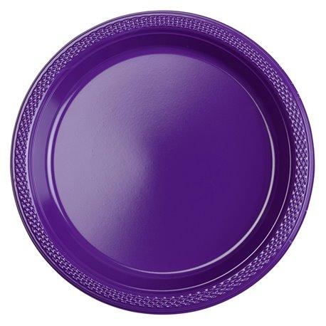 Farfurii plastic Purple 18 cm pentru petreceri, Amscan RM552284-25, Set 10 buc
