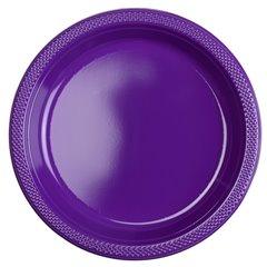 Farfurii plastic Purple 23 cm pentru petreceri, Amscan RM552285-25, Set 10 buc