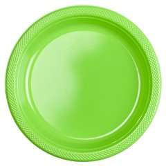 Kiwi Green Plastic Plates 23 cm, Amscan RM552285-53, Pack of 10 pieces