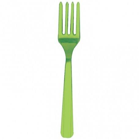 Furculite plastic Kiwi Green pentru petreceri, Amscan RM552290-53, Set 10 buc