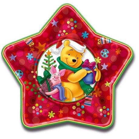 Farfurii petrecere copii 23 cm Winnie the Pooh Christmas, Amscan RM550819, Set 5 buc